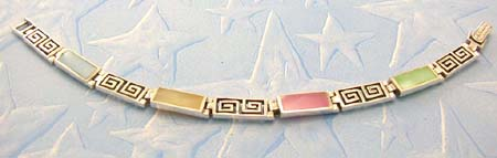 Discount trends jewelry bracelet in stamped 925 sterling silver with assorted mother of pearl  inlay