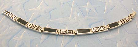 Jewelry special design inspired gemstone wholesaler supply sterling silver bracelet with onyx gemstone inlay rectangular shape