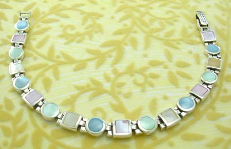 Gift jewelry online shopping wholesale in 925 stamped sterling silver bracelet with asssorted mother of pearl inlay