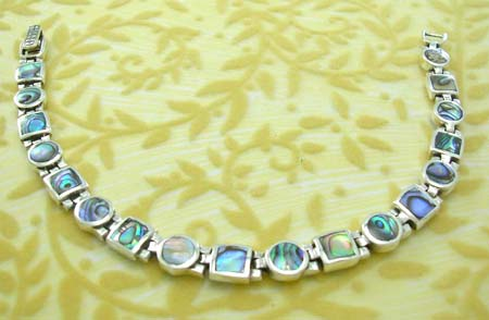Holiday seashell jewelry shop store wholesale supply rounded and square with abalone seashell inlay sterling silver bracelet