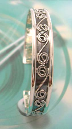 Sterling silver jewelry making supply solid bangle with curvy letter S pattern design