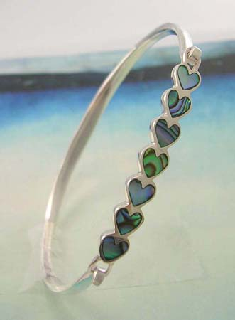 Wholesale seashell collective, abalone seashell in heart shape bangle made 925 sterling silver