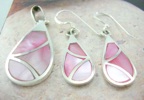 Whole Set Of Mother Pearl Jewelry Supplier Sterling Silver Water Drop Earrings And Pendant With Pink