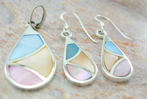 Premier mother of pearl jewelry gift set wholesale sterling silver earrings and pendant in water-drop-shaped with assorted mother peral seashell