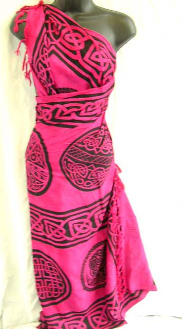 Online supply catalog distributes Celtic knot art designed batik shawl