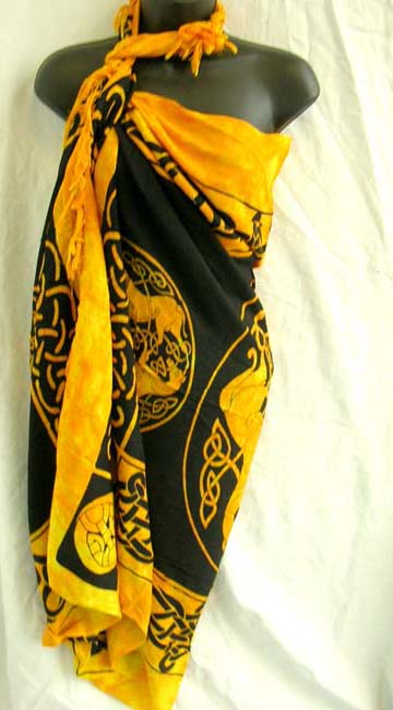 Ladies high style distributor exports Celtic knot and art designed summer sarong dress with fancy tasseled hem