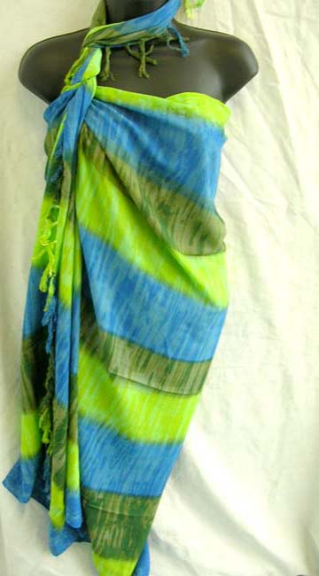 Bali wholesale supplier manufactures stripped fashion sarong wrap in beautiful caribbean colors