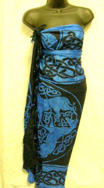 Imported Celtic art knot and animal symbol, womens rayon sarong from Balinese boutique