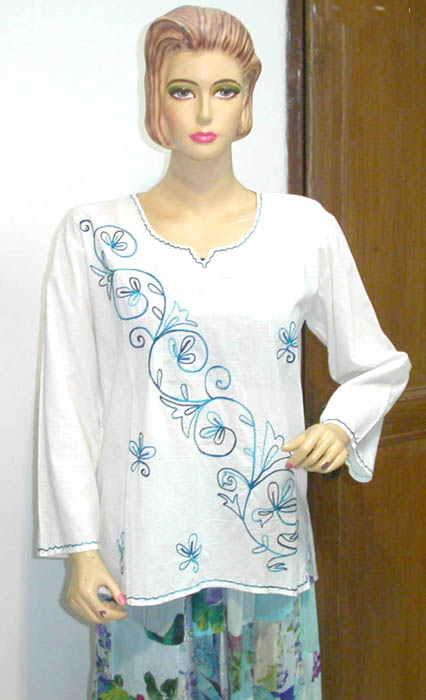 Ladies accessory company wholesale ladies rayon comfort sleeves embroidery handicraft shirt top