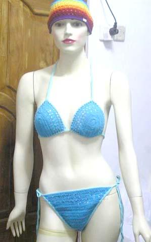 3knitting bikini set 003 jpg More on Clothing Bikini DETAILS Baby blue triangle top bikini set with drawstrings adjustable at back and side SKU