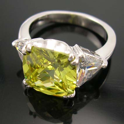 Online Selection Diamond Cz Engagement Wedding Ring Wholer In Lime Green With